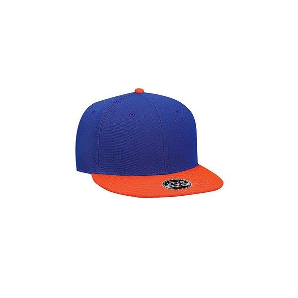 Kungsblå / Orange snapback med egen brodyr - OTTO