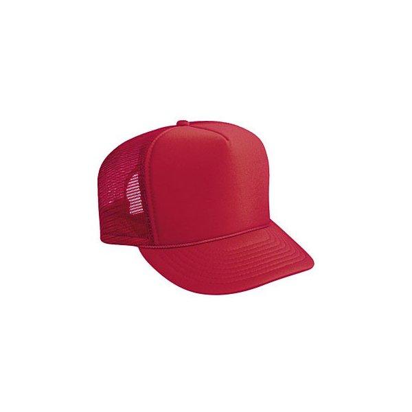 Röd truckerkeps med eget tryck och brodyr