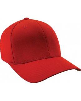 Röd Flexfit-keps, böjd