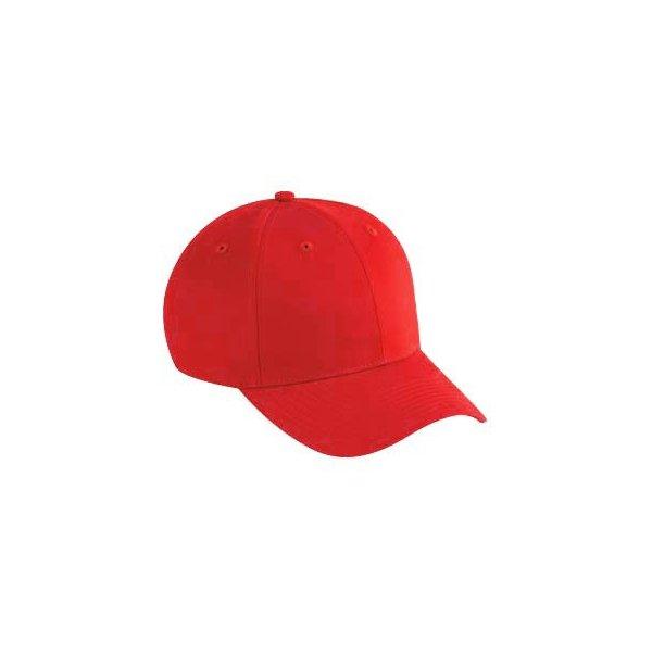Röd keps baseball med egen brodyr