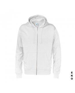 Vit zip hoodie med eget tryck