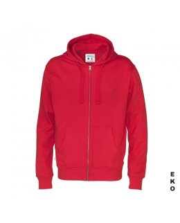 Röd zip hoodie med eget tryck