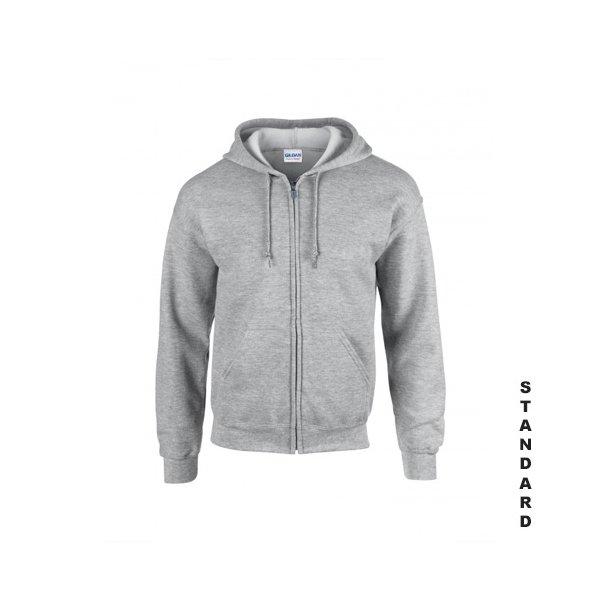 Gråmelerad zip hoodie med eget tryck