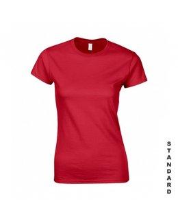 Röd dam t-shirt med eget tryck