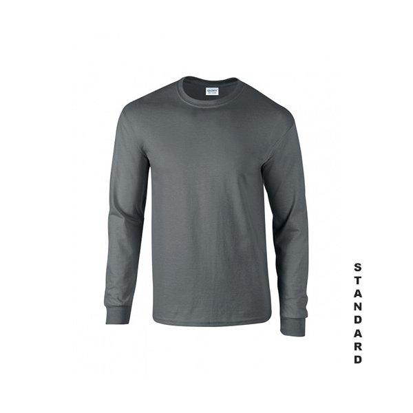 Blyertsgrå långärmad t-shirt med eget tryck