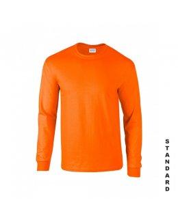 Varselorange långärmad t-shirt med eget tryck