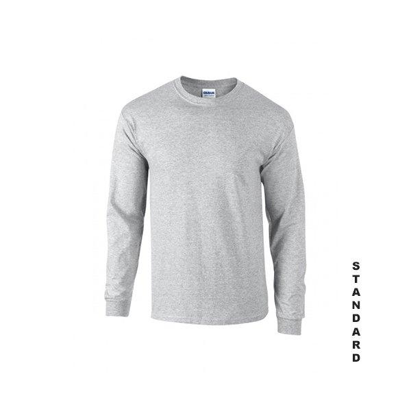 Gråmelerad långärmad t-shirt med eget tryck