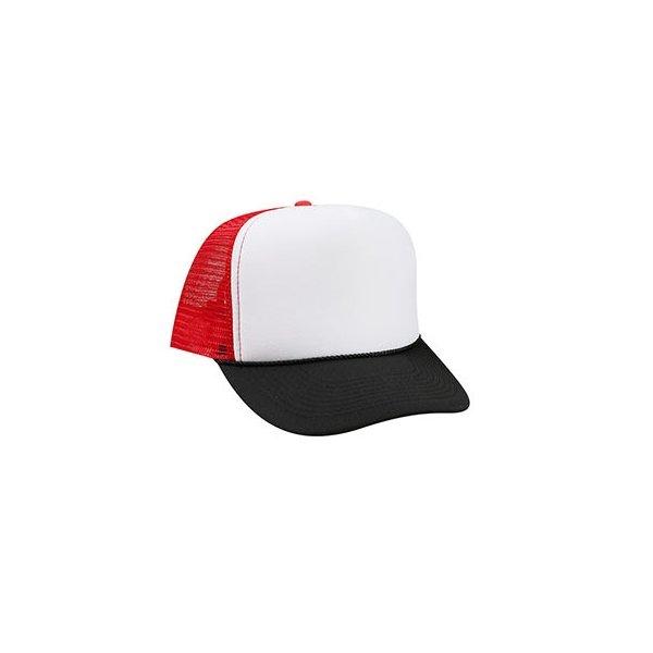 Svart, vit och röd truckerkeps med eget tryck eller brodyr