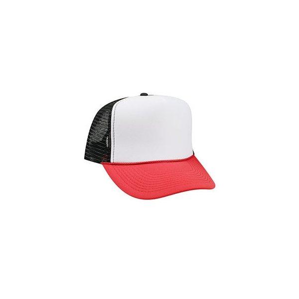 Röd, vit och svart truckerkeps med eget tryck eller brodyr