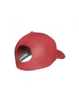 Röd Flexfit 6277 Ponytailkeps med egen brodyr