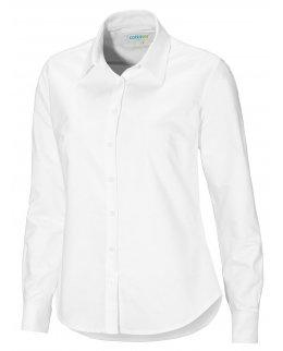 Vit Oxford-skjorta dam med egen brodyr