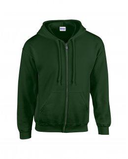 Skogsgrön zip hoodie med eget tryck
