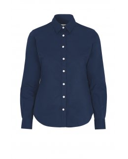 Marinblå Twill Comfort skjorta dam - egen brodyr