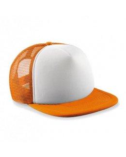 Vit/Orange Barnkeps trucker med eget tryck eller brodyr