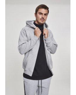 Gråmelerad EXTRA tjock zip hoodie med eget tryck