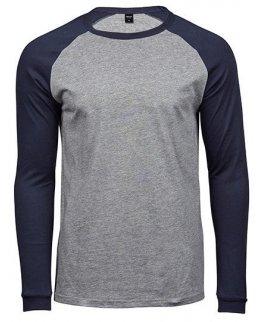 Marinblå/Vit Baseball t-shirt herr med eget tryck