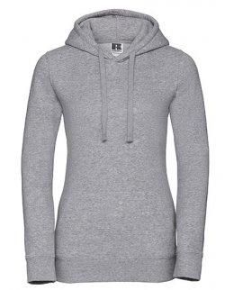 Gråmelerad dam-hoodie med eget tryck