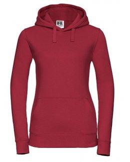 Röd dam-hoodie med eget tryck Standard