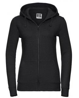 Svart zip-hoodie dam med eget tryck
