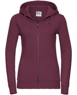 Burgundy zip-hoodie dam med eget tryck