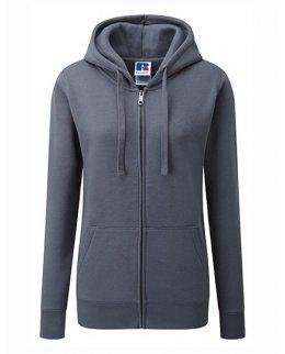 Grå zip-hoodie dam med eget tryck