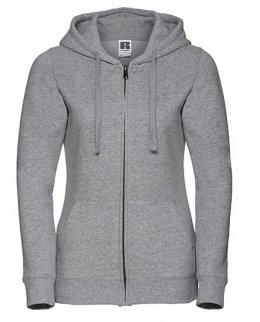 Gråmelerad zip-hoodie dam med eget tryck