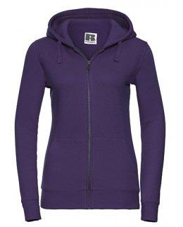 Lila zip-hoodie dam med eget tryck