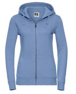 Ljusblå zip-hoodie dam med eget tryck
