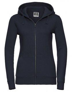 Marinblå zip-hoodie dam med eget tryck