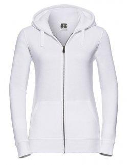 Vit zip-hoodie dam med eget tryck