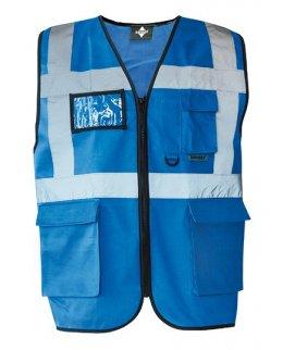 Blå Multifukntionell varselväst med reflex och eget tryck