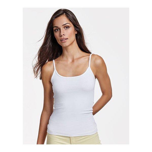 Rosa Slim-fit linne dam med eget tryck