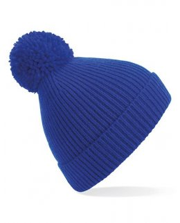 Kungsblå Stickad mössa med toffs och brodyr