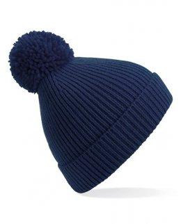 Marinblå Stickad mössa med toffs och brodyr