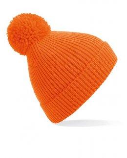 Orange Stickad mössa med toffs och brodyr