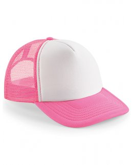 Vit rosa mjuk truckerkeps med tryck brodyr