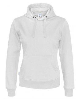 Vit dam-hoodie med eget tryck Standard