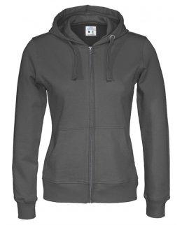 Grå zip-hoodie dam med eget tryck Standard