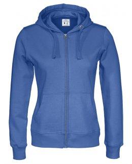 Kungsblå zip-hoodie dam med eget tryck Standard