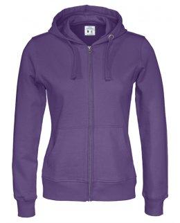 Lila zip-hoodie dam med eget tryck Standard
