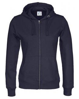 Marinblå zip-hoodie dam med eget tryck Standard