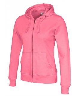 Rosa zip-hoodie dam med eget tryck Standard