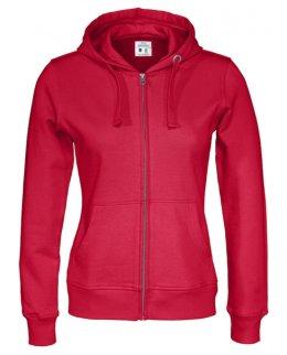 Röd zip-hoodie dam med eget tryck Standard
