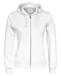 Vit zip-hoodie dam med eget tryck Standard