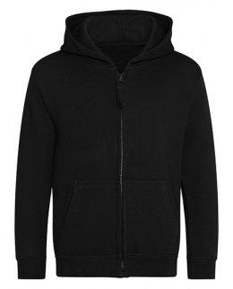 Svart zip-hoodie barn med eget tryck