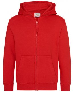 Röd zip-hoodie barn med eget tryck