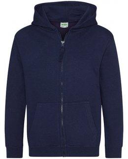 Marinblå zip-hoodie barn med eget tryck