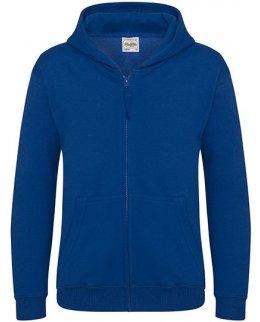 Kungsblå zip-hoodie barn med eget tryck