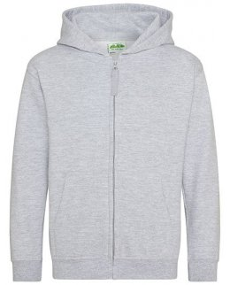 Gråmelerad zip-hoodie barn med eget tryck