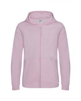 Rosa barn zip-hoodie med eget tryck